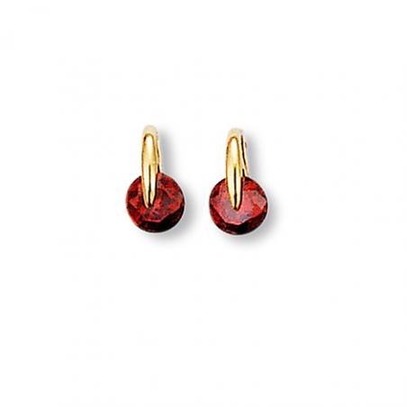Boucle d'oreille plaqué or rubis imitation