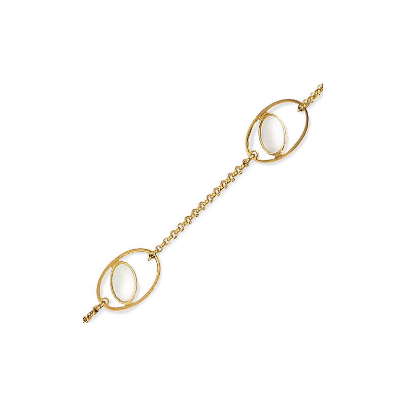 Bracelet plaqué or nacre en 19 cm