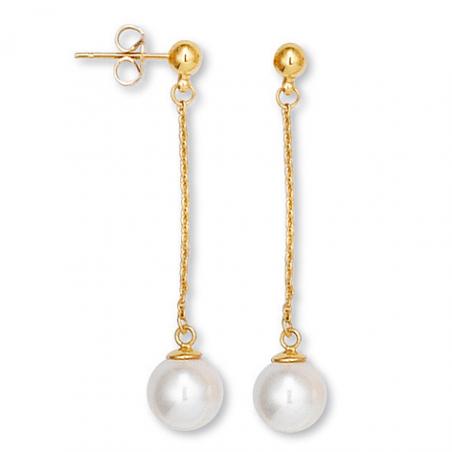Boucle d'oreille plaqué or perle imitation