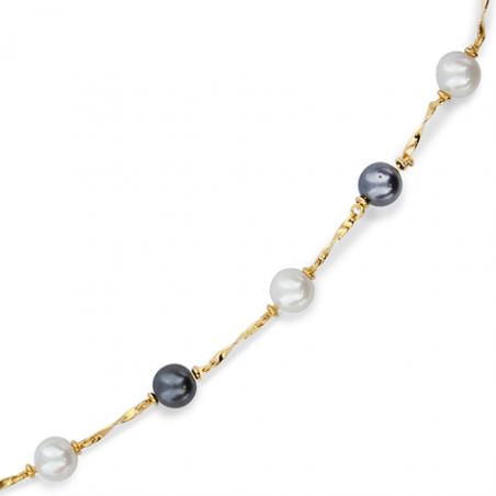 Collier plaqué or perle imitation blanche et grise en 45 cm