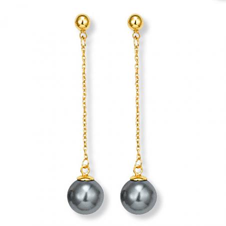 Boucle d'oreille plaqué or perle imitation grise