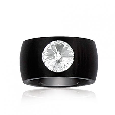 Bague acier noir cristal T54.58.60
