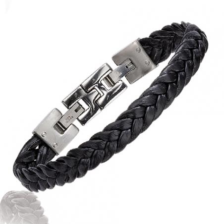 Bracelet acier cuir en 21 cm mise à longueur 19 cm