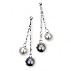 """3 rangées blanc perle Saphir collier pendentif boucles d/'oreilles 17/"""" 19/"""""""