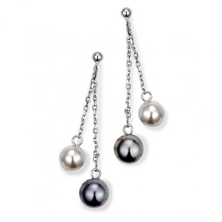 Boucles d'oreilles Argent perles imitation blanche, grise