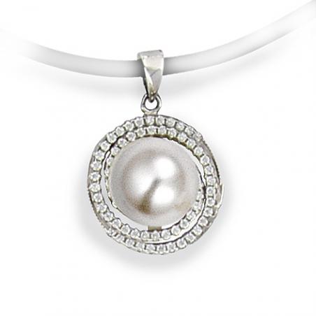 Pendentif Argent et oxyde blanc, perles imitation blanche