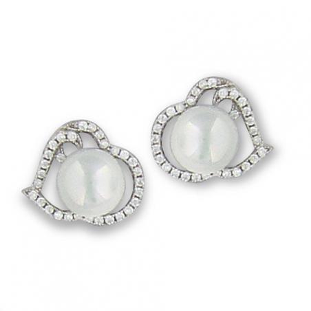Boucle d'oreille argent  perle d'imitation oxyde