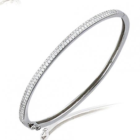 Bracelet plaqué or oxyde rigide ouvrant Ø60