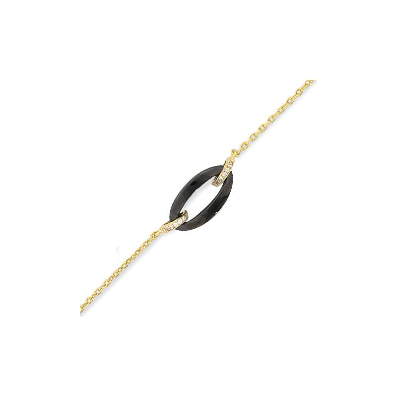 Bracelet plaqué or céramique et oxyde