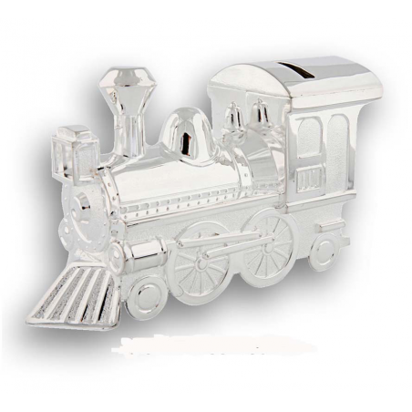 Tirelire locomotive en métal argenté