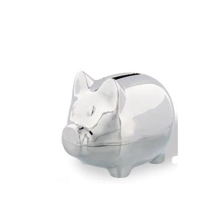 Tirelire cochon en métal argenté