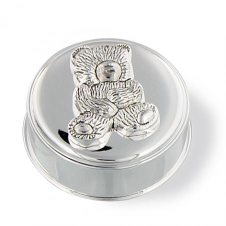 Boite à dent ours en métal argenté