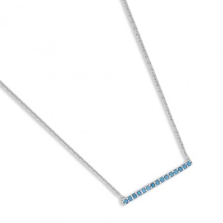 Collier argent oxyde turquoise en 38 cm (mise en longueur 42 cm)