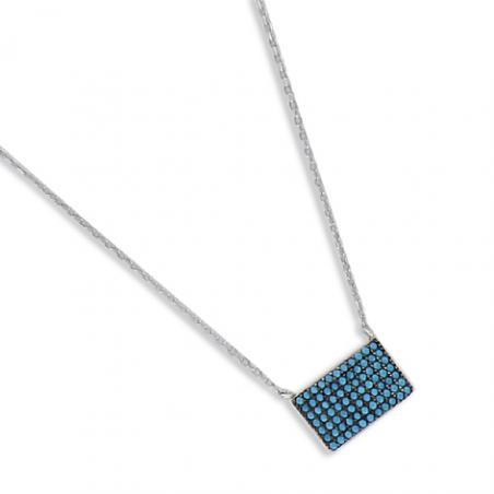 Collier argent oxyde turquoise en 40 cm (mise en longueur 42/44 cm)
