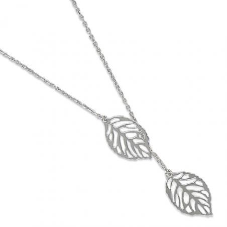 Collier argent feuille en 40 cm (mise en longueur 42/44 cm)