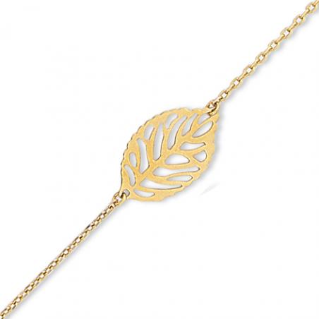 Bracelet plaqué or feuille en 18 cm (mise en longueur 16 cm)
