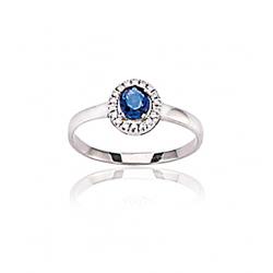 Bague or gris et saphir / Diamant 0.076 ct