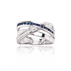 Bague or gris et saphir / Diamant 0.07 ct