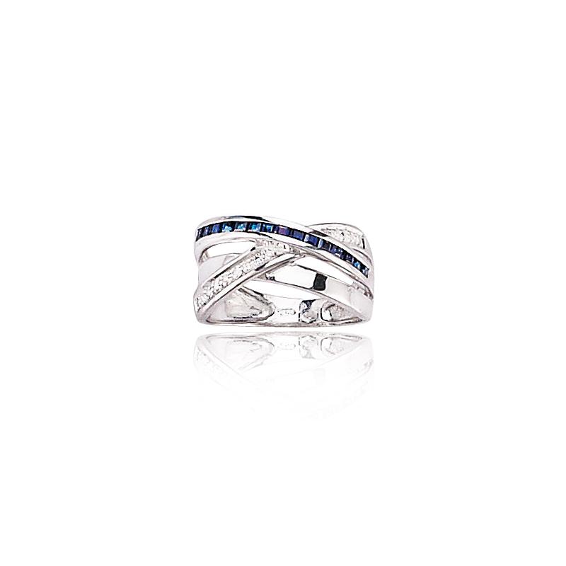 bague or gris saphir et diamants