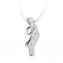 Pendentif or gris / Diamant 0.03 ct