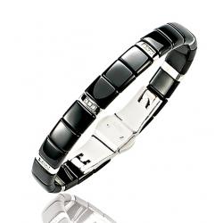 Bracelet rigide en acier, or et céramique Ø60 / Diamant 0.06 ct