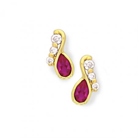 Boucles d'oreilles plaqué or oxyde rubis