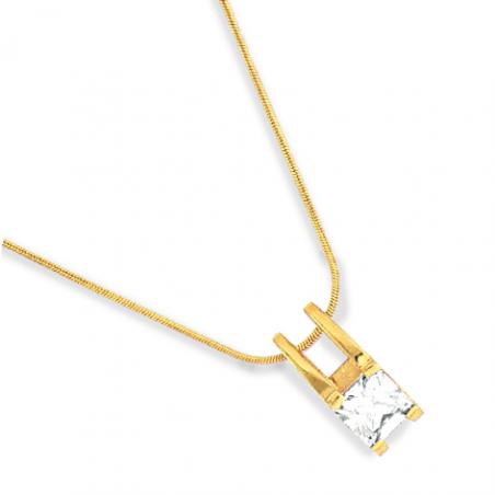Collier plaqué or oxyde blanc 42 cm