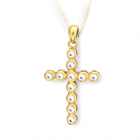 Pendentif croix plaqué or oxyde