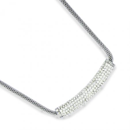 Collier acier cristaux en 45 cm