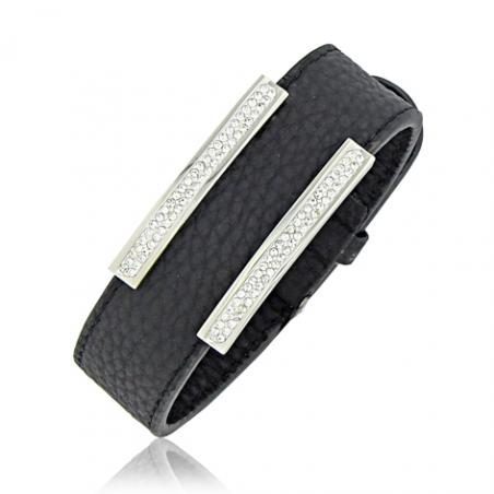 Bracelet acier cuir cristaux en 21 cm