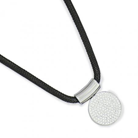 Collier acier mesh cristaux en 45 cm