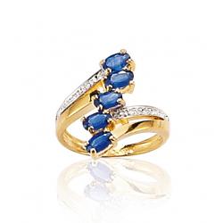 f9364768dd5 Bague or bicolore et saphir   Diamant 0.011 ct   T50 à T58 2en2