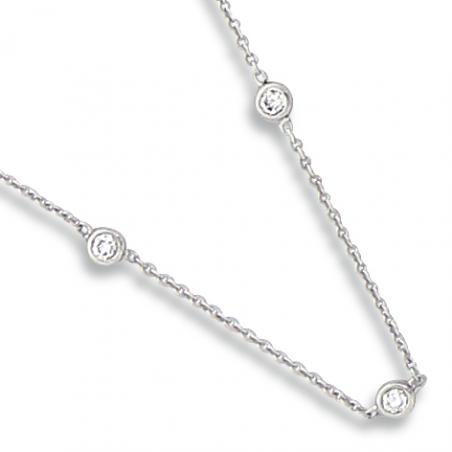 Collier or gris / Diamant 0.080 ct / En 42 cm