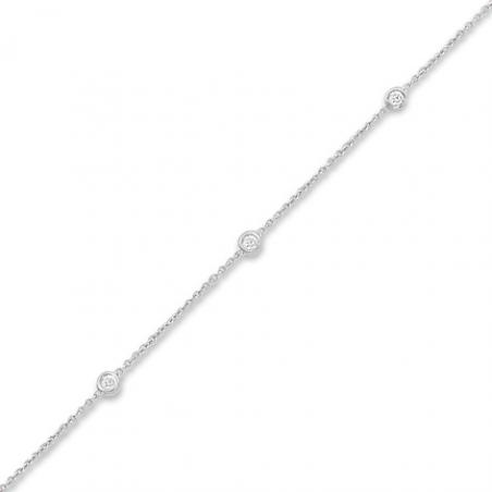 Bracelet or gris / Diamant 0.075 ct / En 18 cm