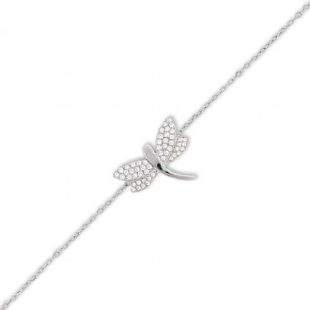 Bracelet libellule en or gris et oxyde en 18 cm