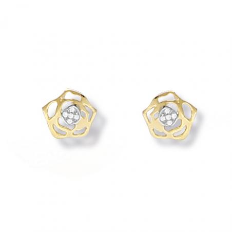 Boucles d'oreilles rose en or et oxyde