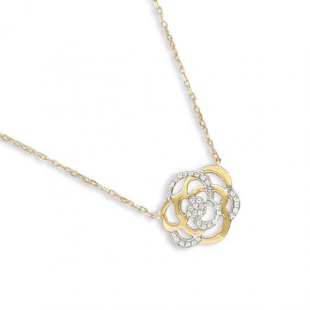 Collier rose en or et oxyde en 42 cm