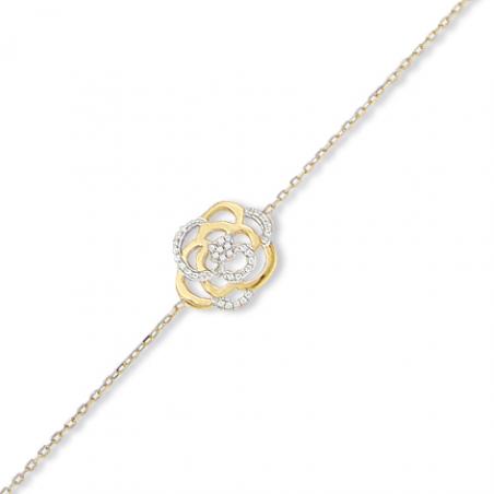 Bracelet rose en or et oxyde en 18 cm