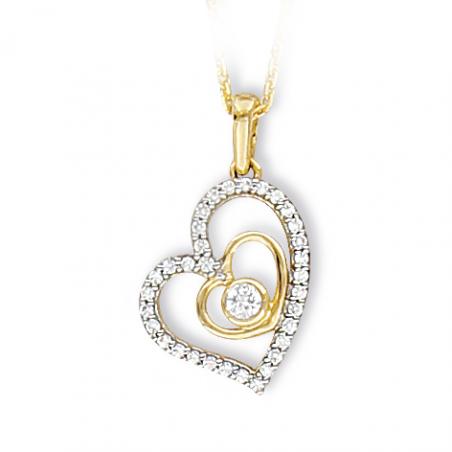 Pendentif coeur en or et oxyde