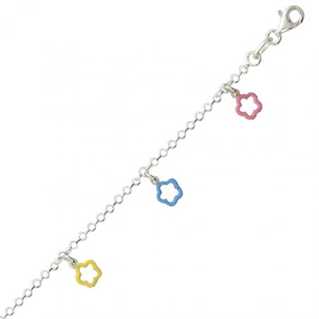 Bracelet argent multi fleur