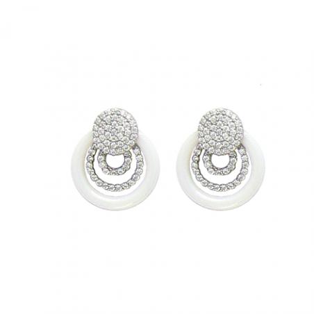 Boucles d'oreille argent oxyde céramique blanche