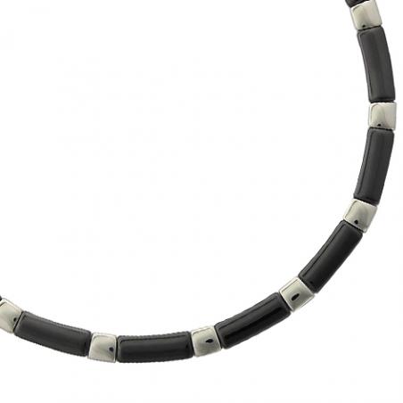 Collier acier céramique noire