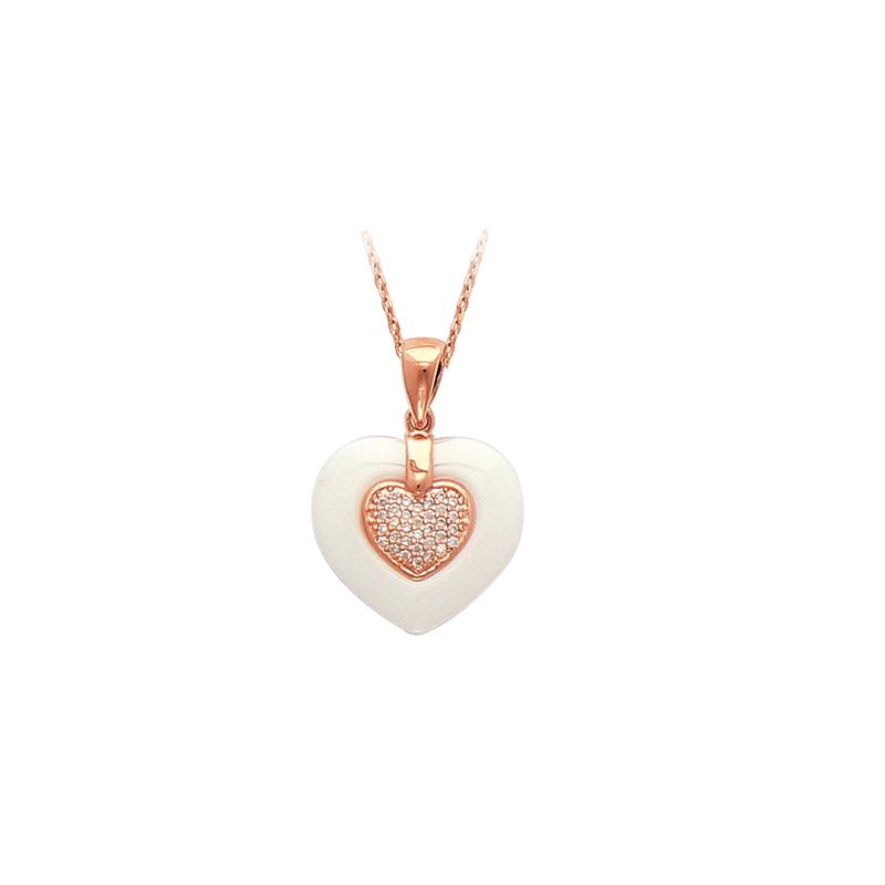 0d0d547f007ac Pendentif plaqué or rose céramique et oxyde - Sainte Foy Bijoux
