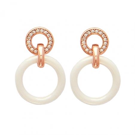 Boucles d'oreilles plaqué or rose céramique et oxyde