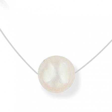 Collier fils nylon fermoir Argent perle d eau douce 40cm