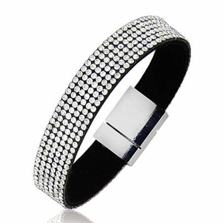 Bracelet Acier cuir strass blancs 18cm