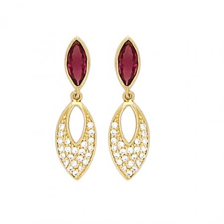 Boucles d'oreilles rubis plaqué or et oxyde