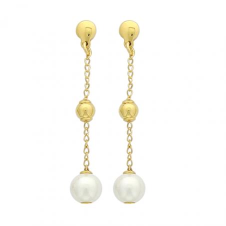 Boucles d'oreilles plaqué or et perle d'imitation