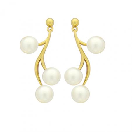 Boucles d'oreilles plaqué or et perles d'imitations