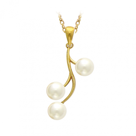 Pendentif plaqué or et perles d'imitations